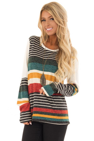 Multi Color Striped Sweater with Long Color Block Sleeves front full body