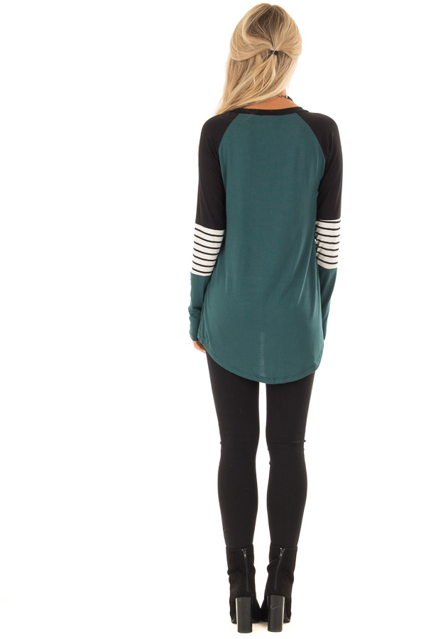 Hunter Green Long Sleeve Top with Color Block Sleeves back full body