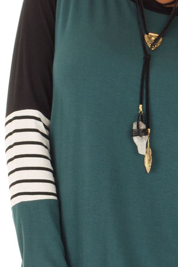 Hunter Green Long Sleeve Top with Color Block Sleeves detail