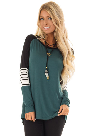 Hunter Green Long Sleeve Top with Color Block Sleeves front close up