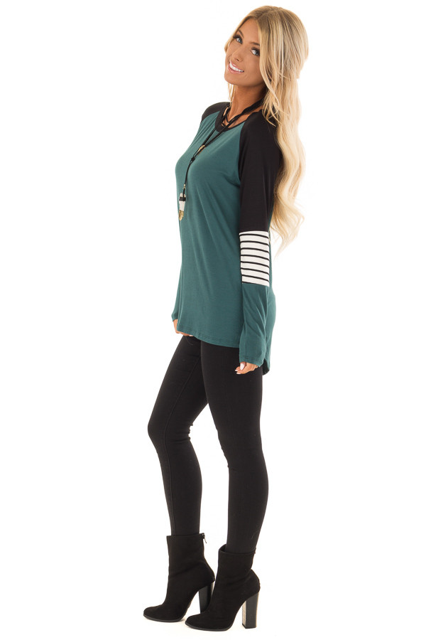 Hunter Green Long Sleeve Top with Color Block Sleeves side full body