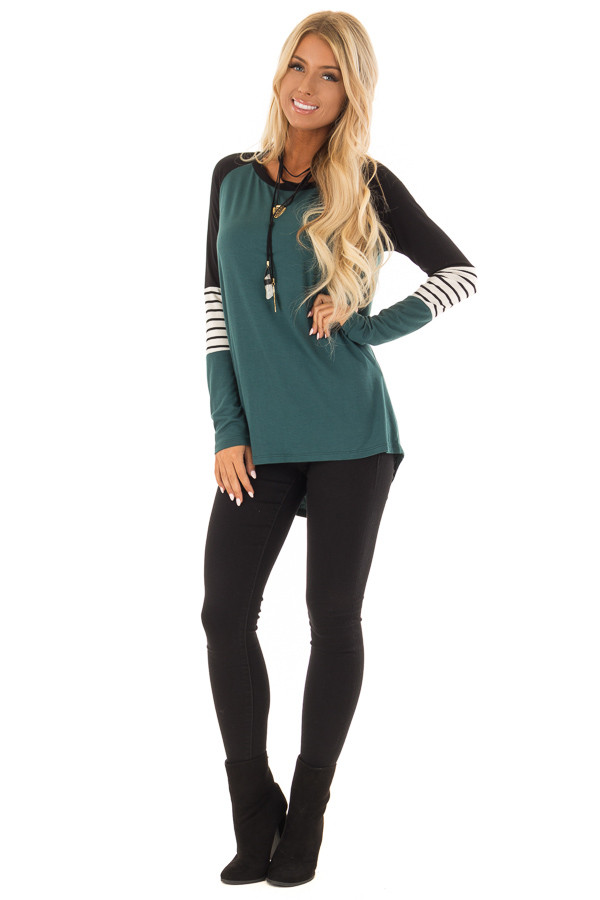 Hunter Green Long Sleeve Top with Color Block Sleeves front full body