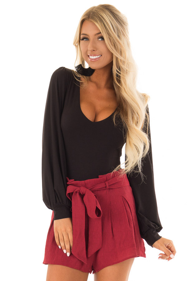 Black Long Sleeve Bodysuit with Plunging Neckline front close up