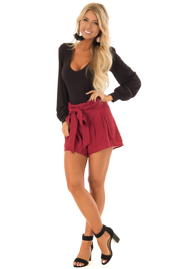 Black Long Sleeve Bodysuit with Plunging Neckline front full body