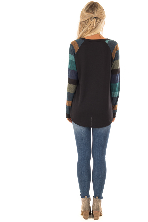 Black Top with Long Multi Color Striped Sleeves back full body