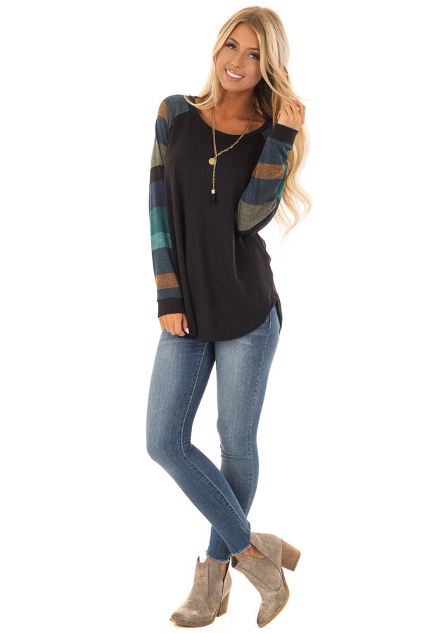 Black Top with Long Multi Color Striped Sleeves front full body