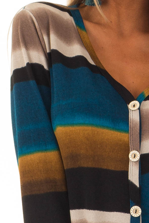 Multi Color Striped Button Up Top with Front Tie Detail detail