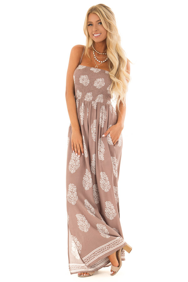 Mocha Sleeveless Wide Leg Jumpsuit with Side Pockets front full body