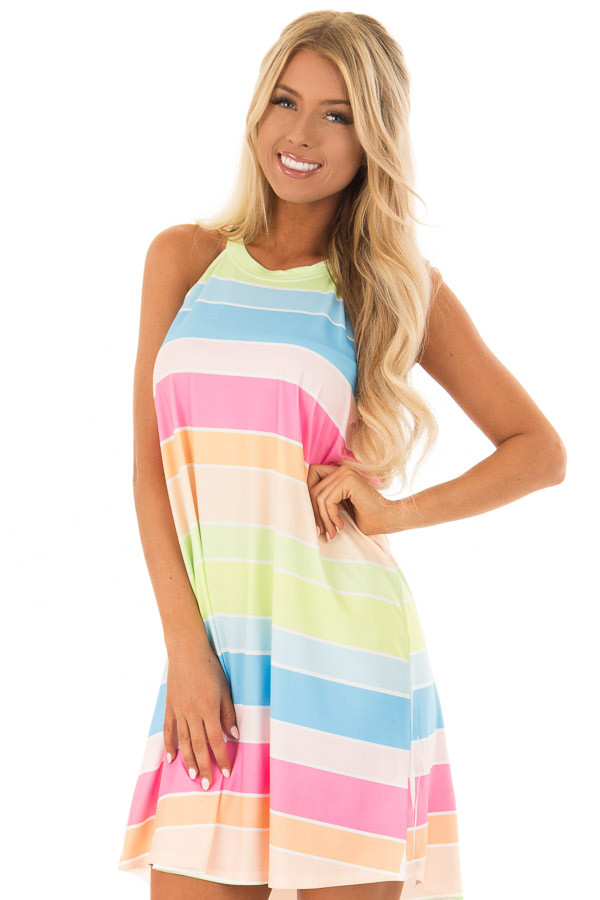 Multi Color Neon Stripe Sleeveless Halter Neck Dress front close up