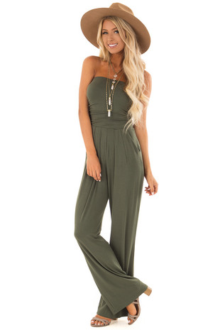 Olive Sleeveless Jumpsuit with Pockets front full body