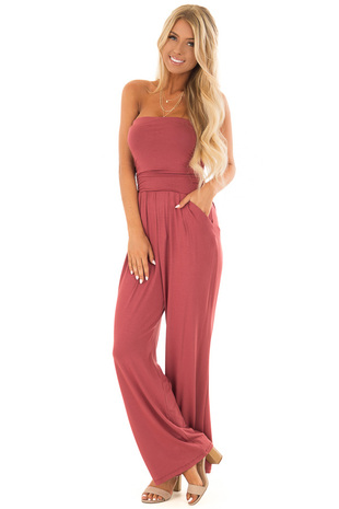 Rose Sleeveless Jumpsuit with Pockets front close up
