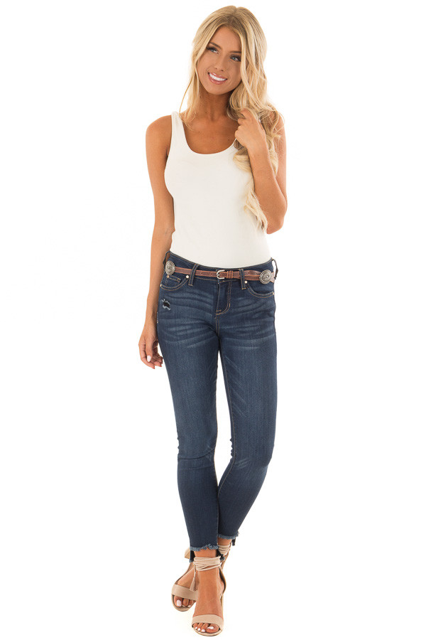 Brown Distressed Skinny Belt with Gunmetal Concho Detail front full body