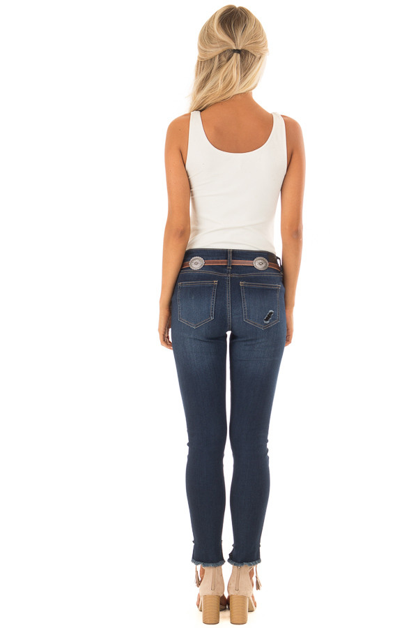 Brown Distressed Skinny Belt with Gunmetal Concho Detail back full body