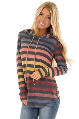 Multicolor Ombre and Charcoal Stripe Long Sleeve Hoodie front close up