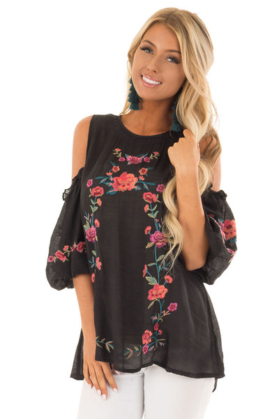 Black Floral Embroidered Cold Shoulder Puff Sleeve Blouse front close up