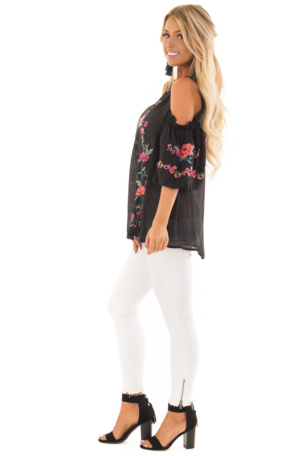 Black Floral Embroidered Cold Shoulder Puff Sleeve Blouse side full body