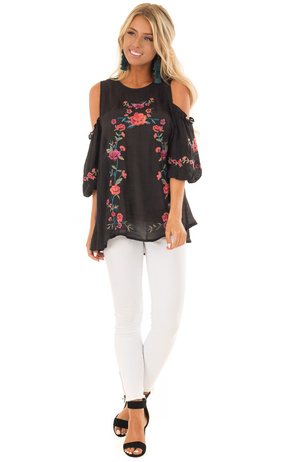 Black Floral Embroidered Cold Shoulder Puff Sleeve Blouse front full body