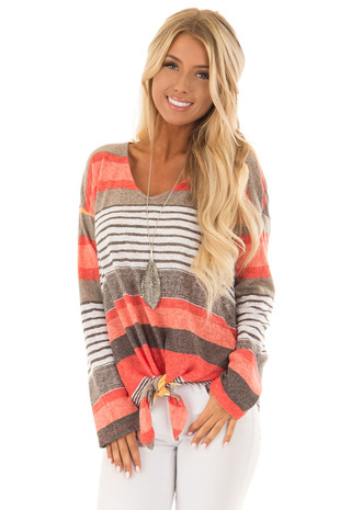 Rust Long Sleeve Striped Knit Sweater with Front Tie front close up