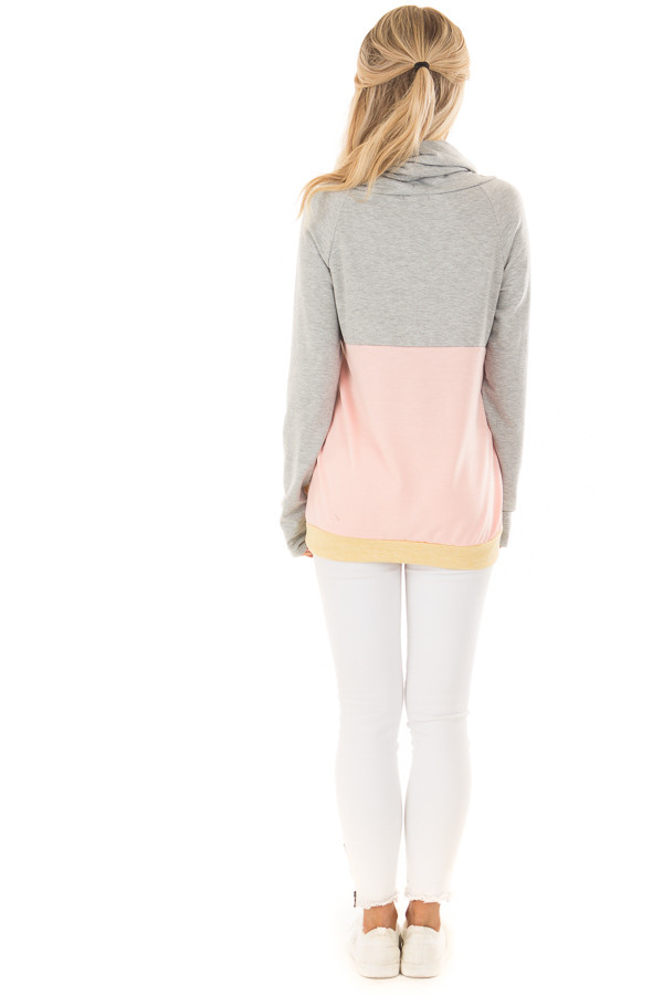Heather Grey and Peach Color Block Long Sleeve Hoodie back full body