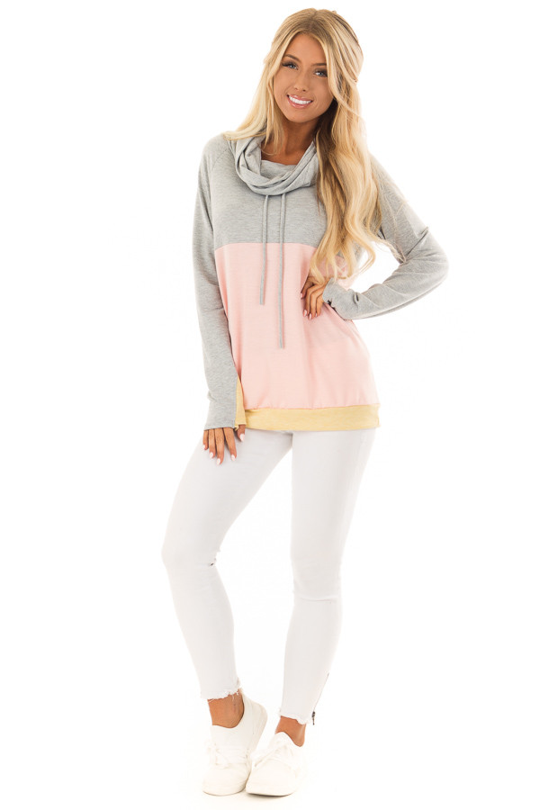 Heather Grey and Peach Color Block Long Sleeve Hoodie front full body