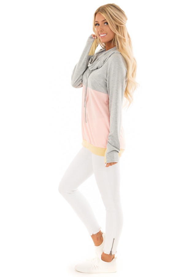 Heather Grey and Peach Color Block Long Sleeve Hoodie side full body