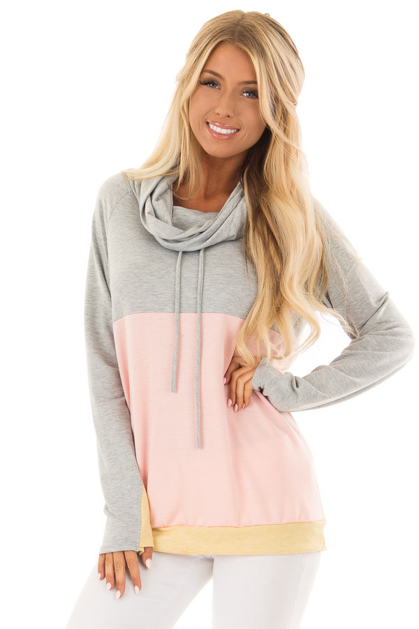 Heather Grey and Peach Color Block Long Sleeve Hoodie front close up