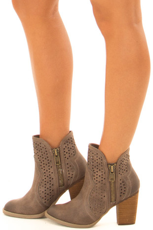 Taupe Wooden Heeled Bootie With Cutout Detail and Zippers side view