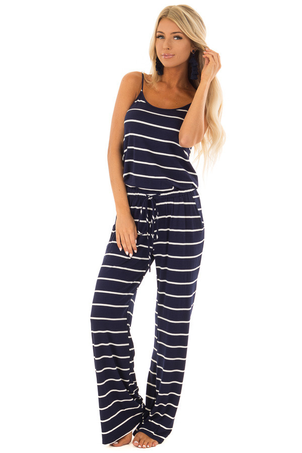 Navy Blue Striped Spaghetti Strap Jumpsuit with Waist Tie front full body