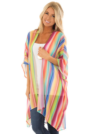 Multi Color Light Weight Sheer Striped Kimono front close up