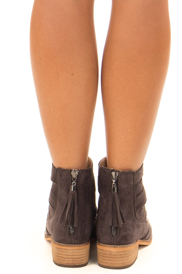 Mocha Suede Booties with Strappy Detail back view