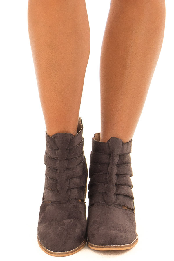 Mocha Suede Booties with Strappy Detail front view