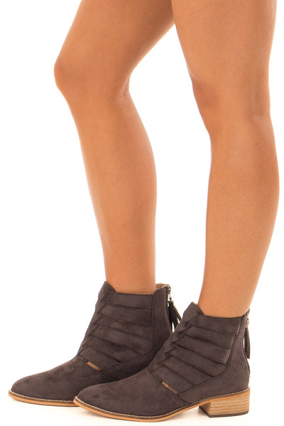 Mocha Suede Booties with Strappy Detail side view