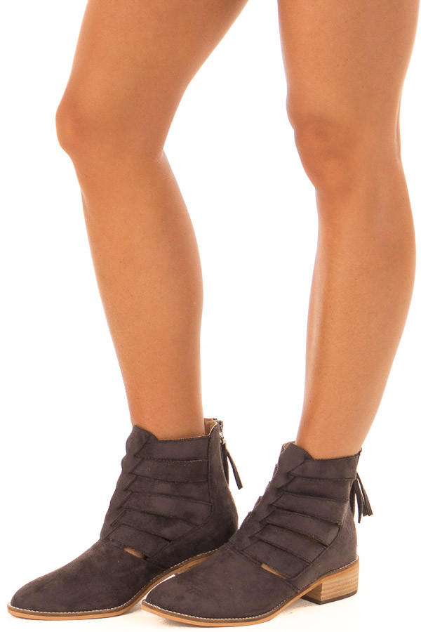 Mocha Suede Booties with Strappy Detail front side view