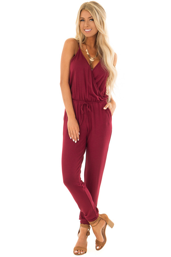 Burgundy Spaghetti Strap Crossover Front Jumpsuit front full body