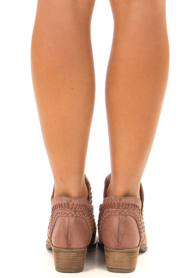Dusty Rose Faux Leather Boho Heeled Bootie back view