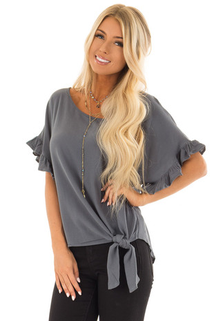 Dusty Teal Ruffled Sleeve Blouse with Front Knot Detail front close up