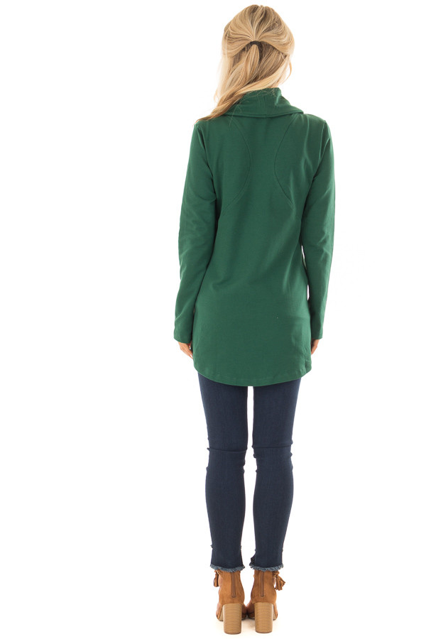 Hunter Green Asymmetrical Zip Up Jacket with Wide Cowl Neck back full body