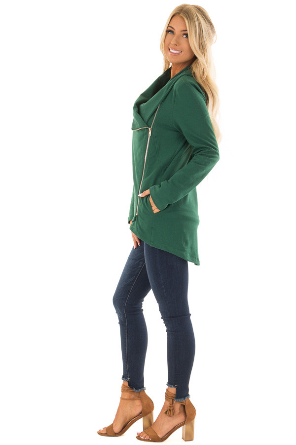 Hunter Green Asymmetrical Zip Up Jacket with Wide Cowl Neck side full body