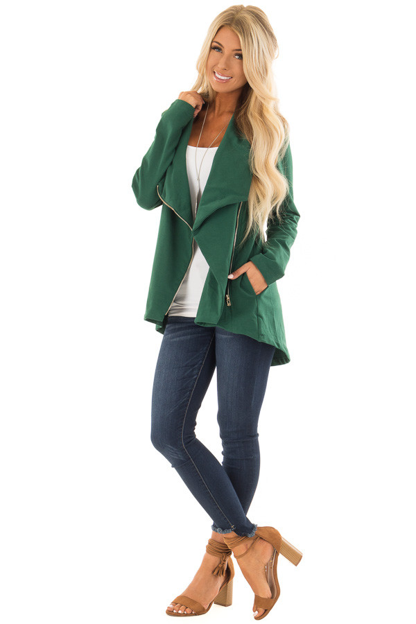 Hunter Green Asymmetrical Zip Up Jacket with Wide Cowl Neck front full body