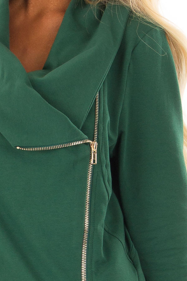 Hunter Green Asymmetrical Zip Up Jacket with Wide Cowl Neck detail