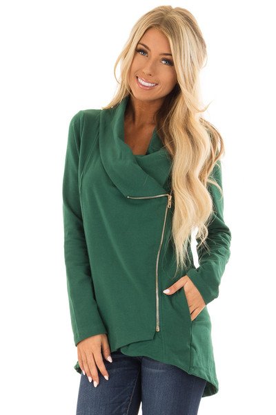 Hunter Green Asymmetrical Zip Up Jacket with Wide Cowl Neck front close up