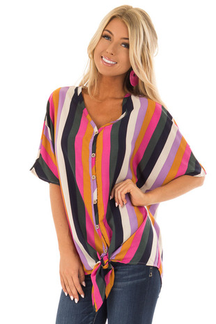 Multi Color Striped Button Down Top with Tie Detail front close up
