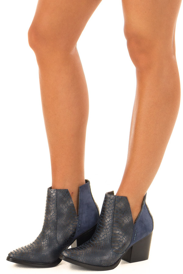 Navy Blue Snake Skin and Faux Suede Heeled Bootie front side view
