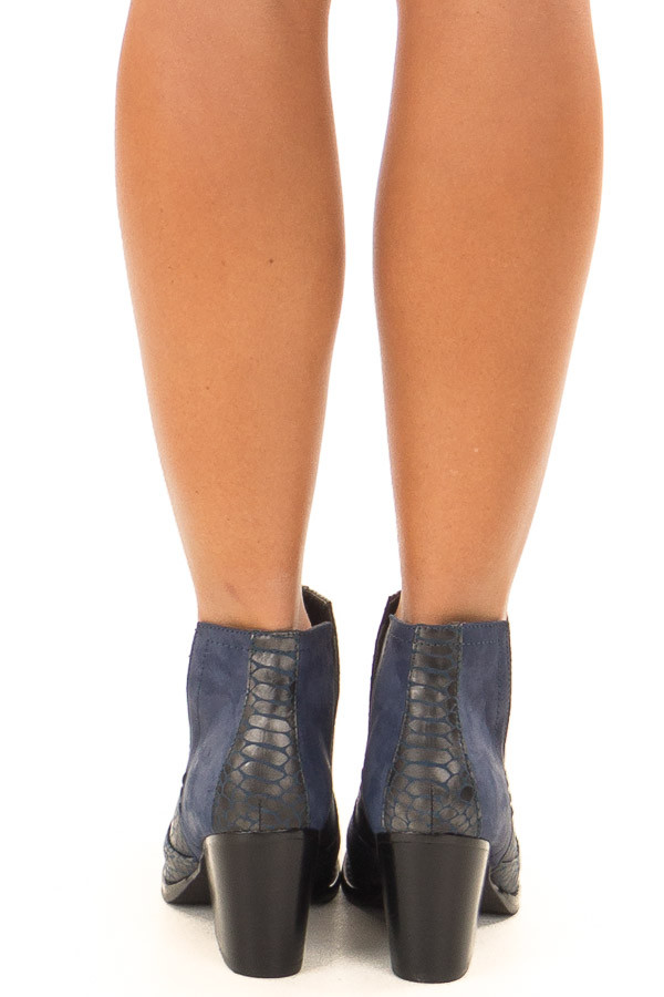 Navy Blue Snake Skin and Faux Suede Heeled Bootie back view