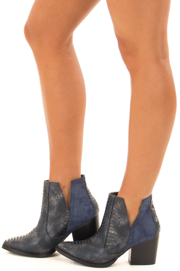 Navy Blue Snake Skin and Faux Suede Heeled Bootie side view