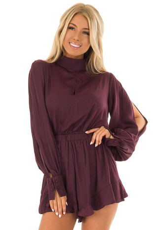 Sangria Long Open Sleeve Romper with Keyhole Detail front close up