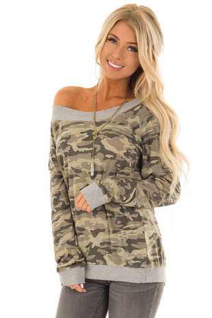 Olive Camo Off the Shoulder Top With Distressed Hem front close up