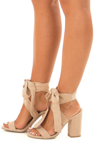 Taupe Suede Block Heels with Lace Up Ankles side view
