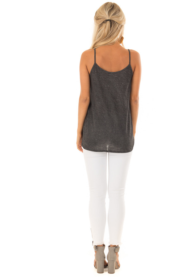 Charcoal Mineral Wash Color Block Tank Top with Front Tie back full body