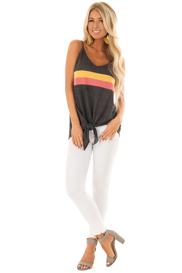 Charcoal Mineral Wash Color Block Tank Top with Front Tie front full body
